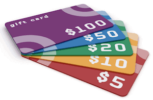 Photo of a stack of gift cards