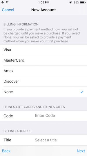 Create iTunes account on iOS Step 8