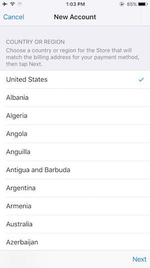 Create iTunes account on iOS Step 5