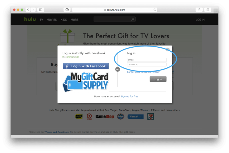 Redeem Hulu Gift Card Step 2
