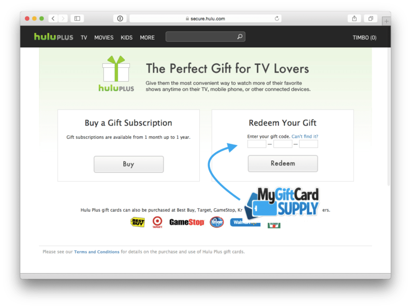 Redeem Hulu Gift Card Step 3