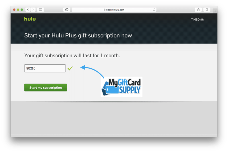 Redeem Hulu Gift Card Step 4