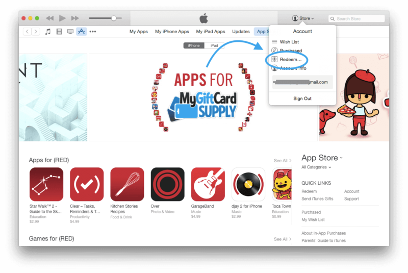 How to Redeem your iTunes gift card Step 3