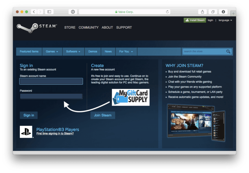 How to Redeem Steam Card Step 1