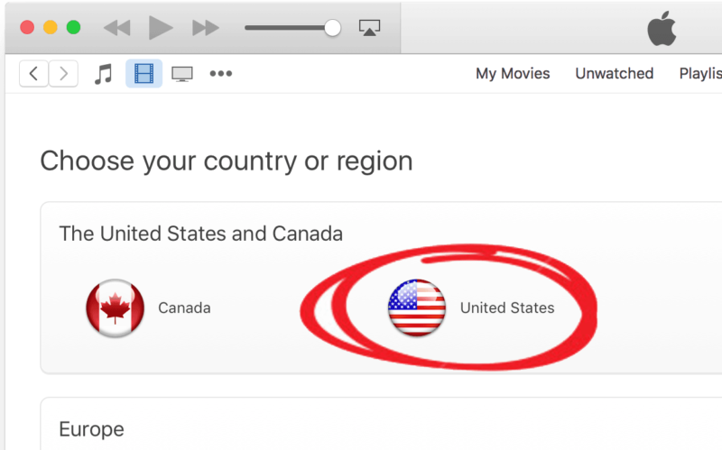 Enter the US iTunes store