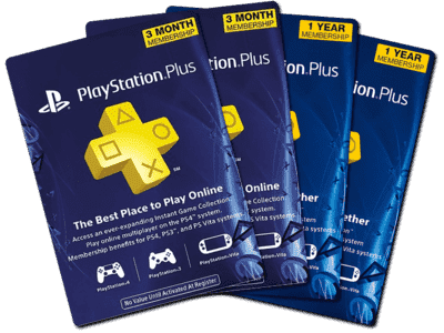 PSN Plus Cards fanned out