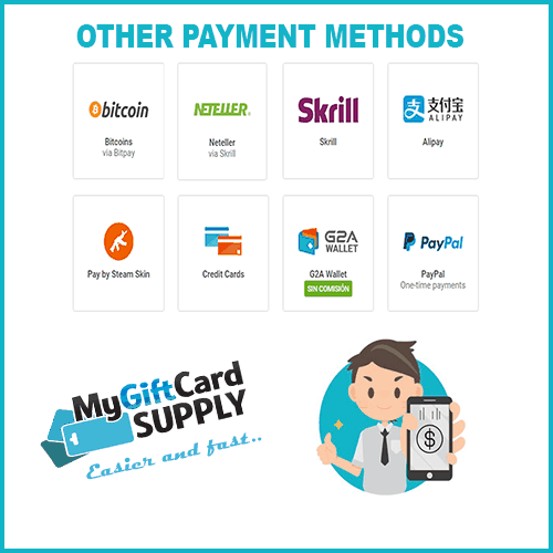 Lots of payment options at MyGiftCardSupply