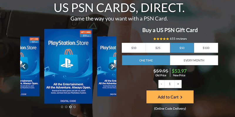 Choose the gift card you want to purchase